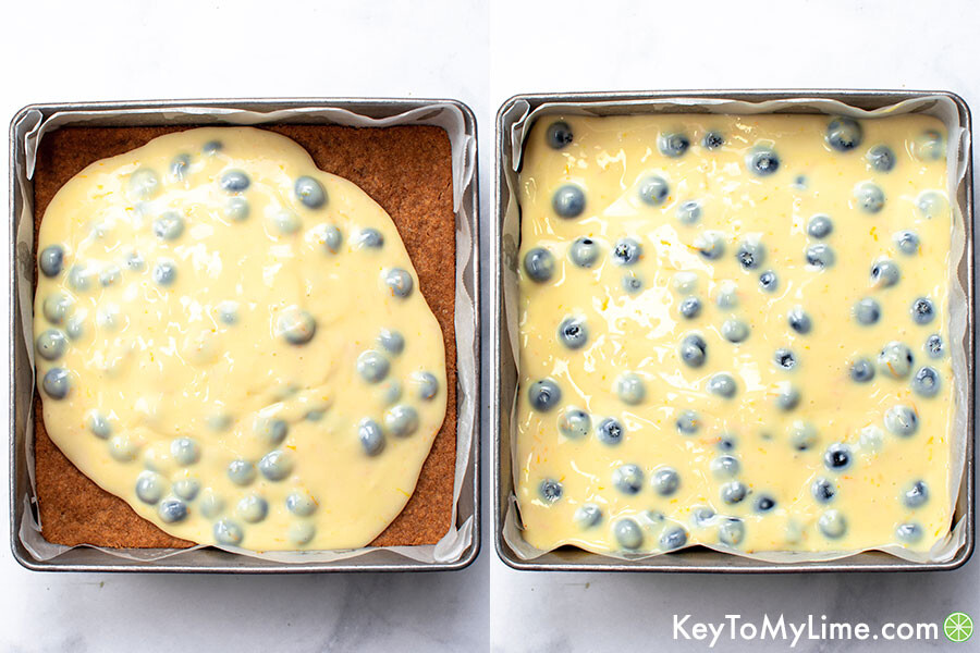 A process collage showing the bars before going into the oven. The first image shows the filling being spread onto the crust and the second image shows the filling fully spread out.