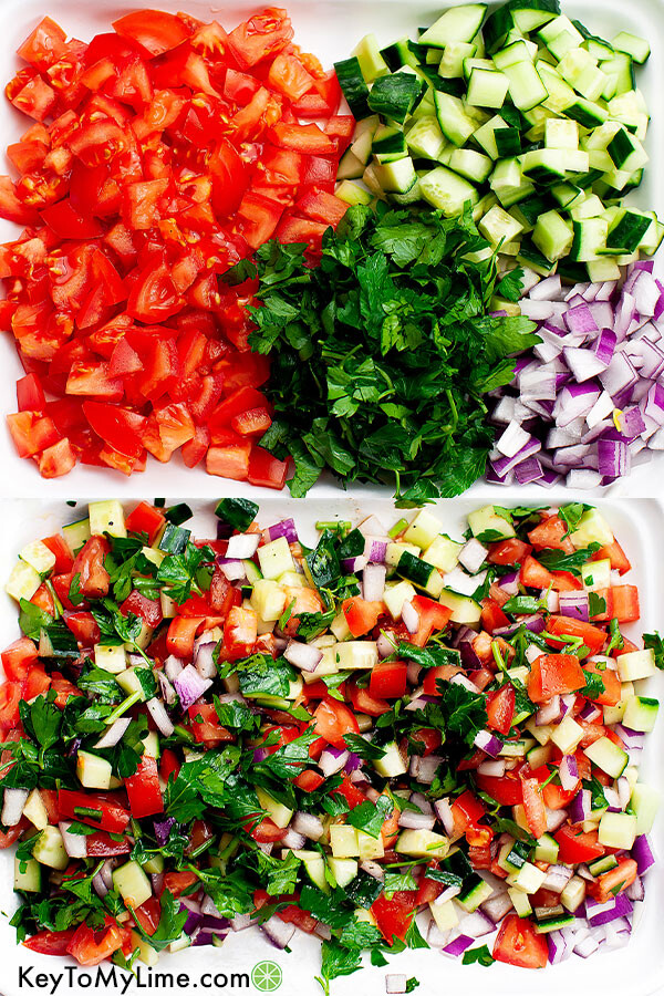 A process collage showing the ingredients for a tomato and cucumber salad both unmixed and mixed.