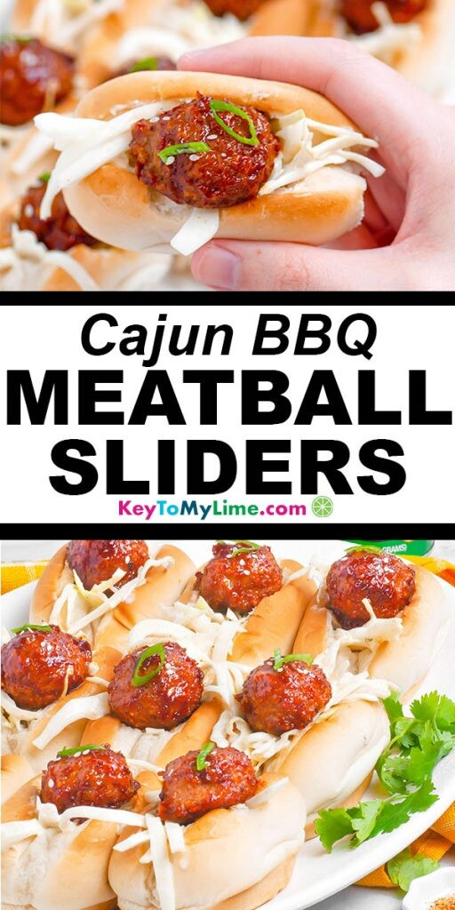 Two images of cajun bbq meatball sliders with title text in between them.
