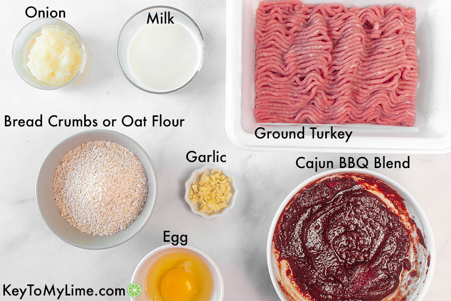 A labelled process image showing the ingredients for cajun bbq turkey meatballs.