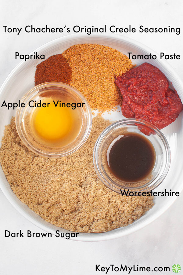 A labelled process image showing the ingredients for cajun bbq sauce.