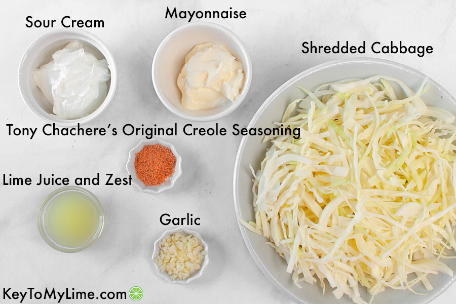 A labelled process image showing the ingredients for creamy lime slaw.