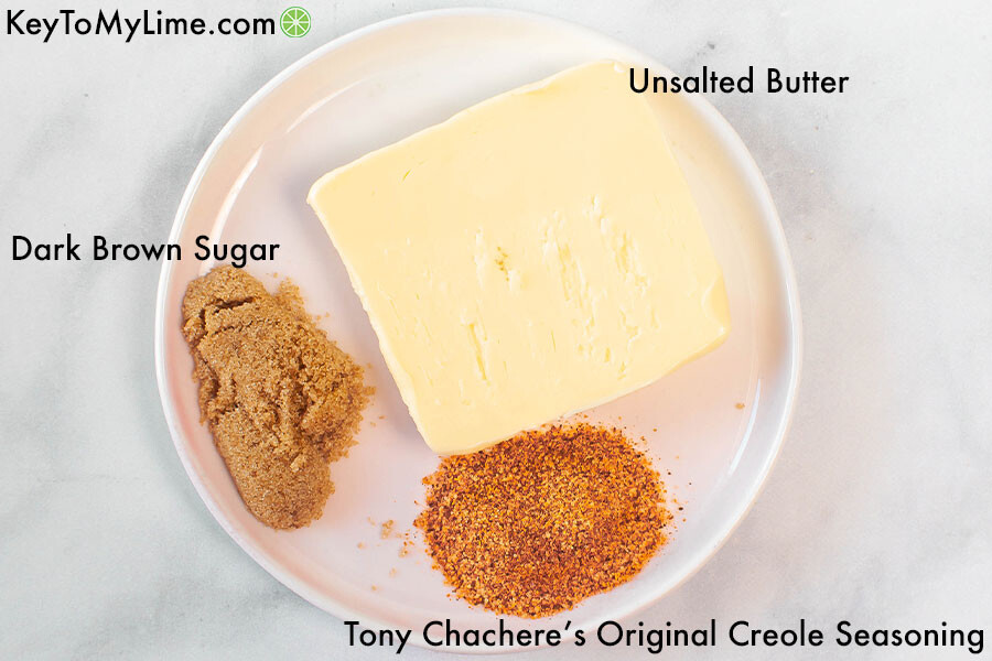A labelled process image showing the ingredients for sweet cajun butter.