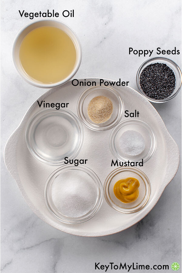 An image of poppy seed salad dressing ingredients with the ingredients labelled.