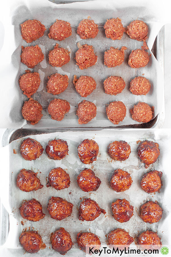 A process image collage showing the turkey meatballs on a baking sheet before and after baking