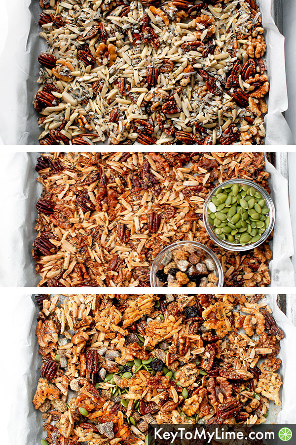 A process collage showing what the granola looks like before baking, after baking, and after breaking it into pieces.