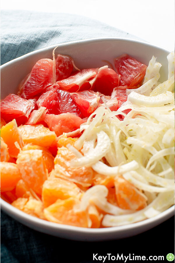 A white bowl with grapefruit, oranges, and slices of fennel.