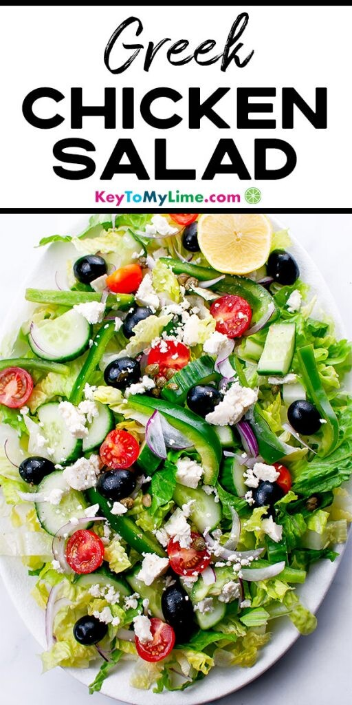 A Pinterest pin image with a picture of Greek salad and title text above.