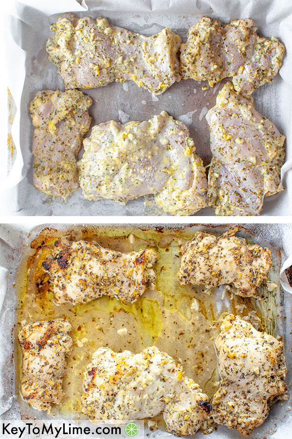 A process collage showing the marinated Greek chicken thighs before and after baking.