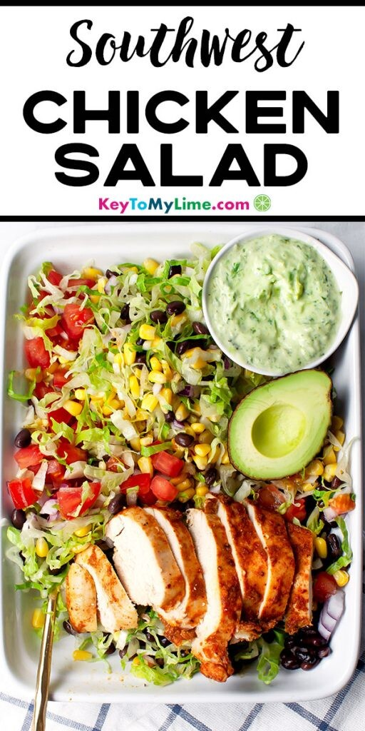 A Pinterest pin image with a photo of southwest chicken salad and title text.