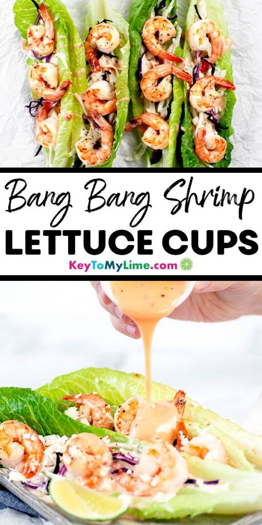A Pinterest pin image of two bang bang shrimp lettuce cup pictures separated by title text.