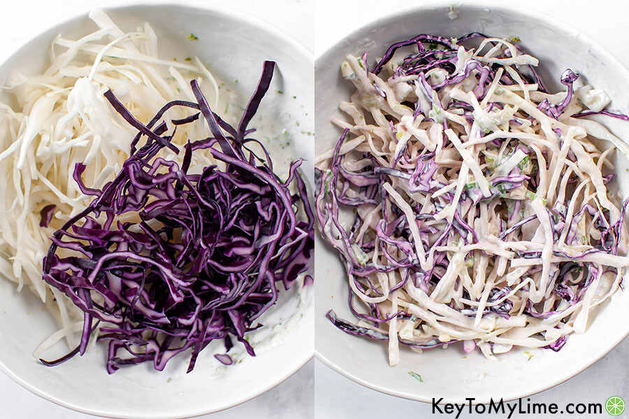 A process collage showing the cabbage slaw before and after mixing.