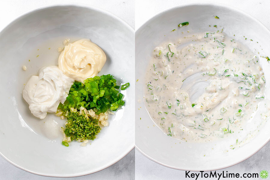 A process collage showing the cilantro lime sauce ingredients before and after mixing.