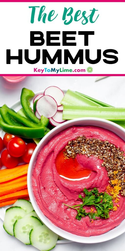 A Pinterest pin image displaying one picture of beet hummus with title text at the top.