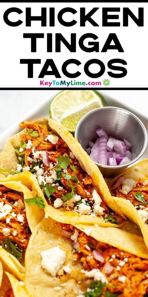 A Pinterest pin image displaying a close up image of tacos with title text at the top.