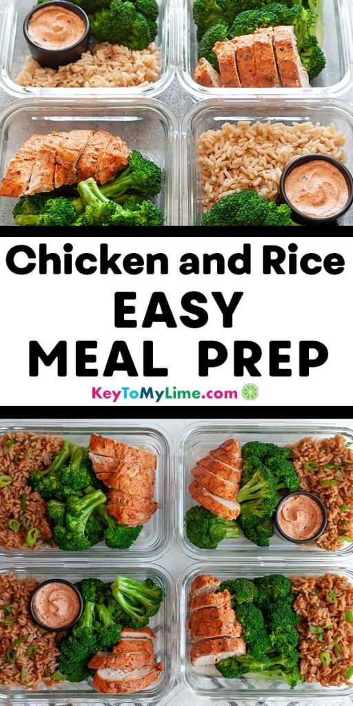 A Pinterest pin with two images of the meal prep separated by title text in the middle.