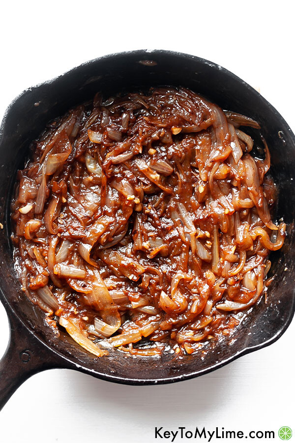 Caramelized onions in a skillet after cooking.