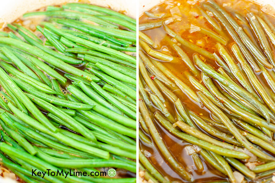 A process collage showing fresh green beans before and after cooking.