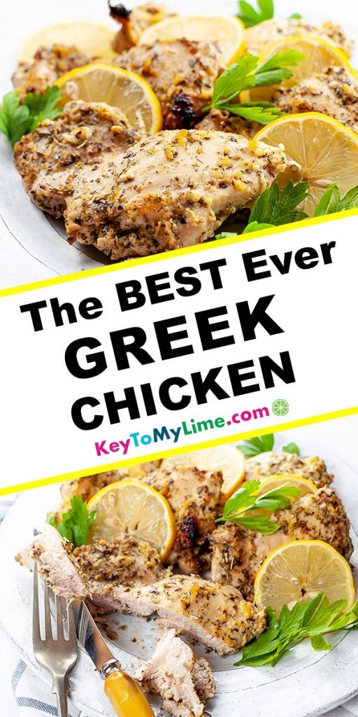 A Pinterest pin image with two pictures of Greek chicken thighs and title text between the images.