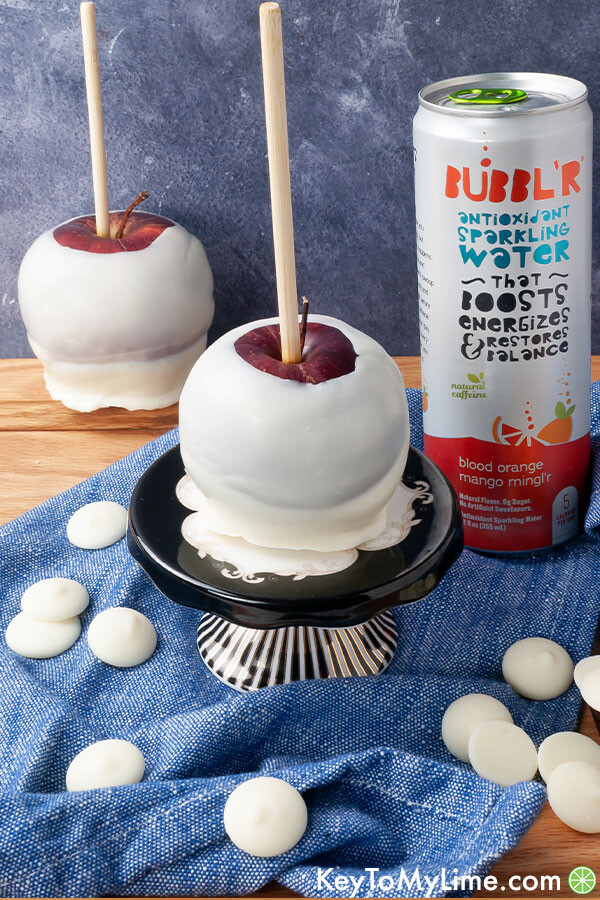 Apples dipped in white chocolate.