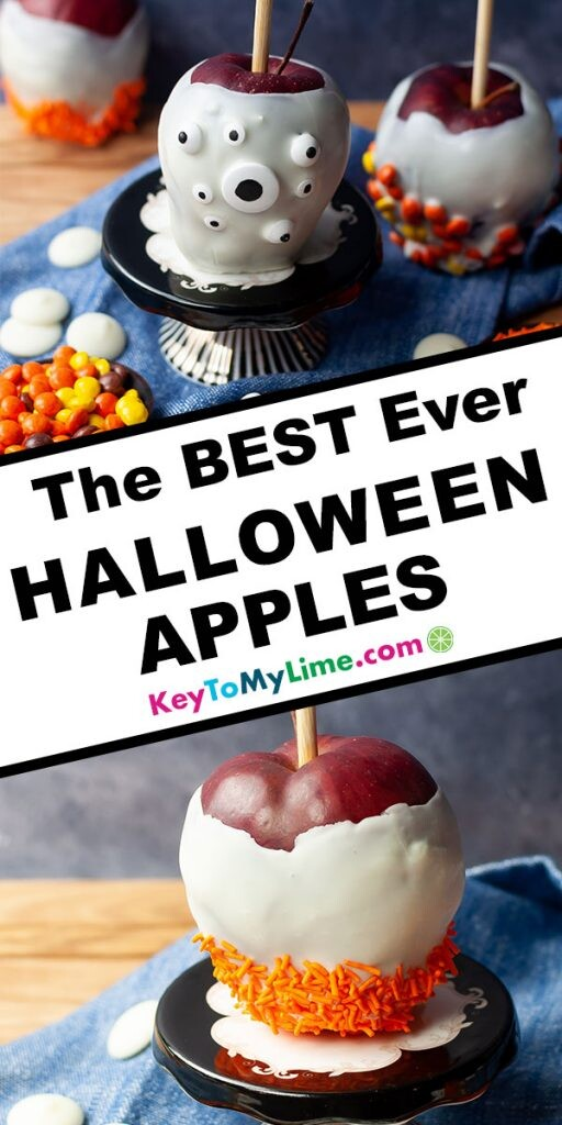A Pinterest pin image of two pictures of decorated Halloween apples with title text in the middle.