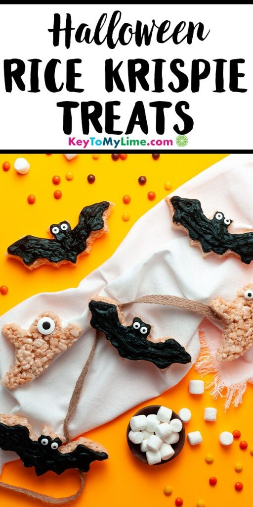A Pinterest pin image showing a picture of Halloween rice krispie treats with title text at the top.