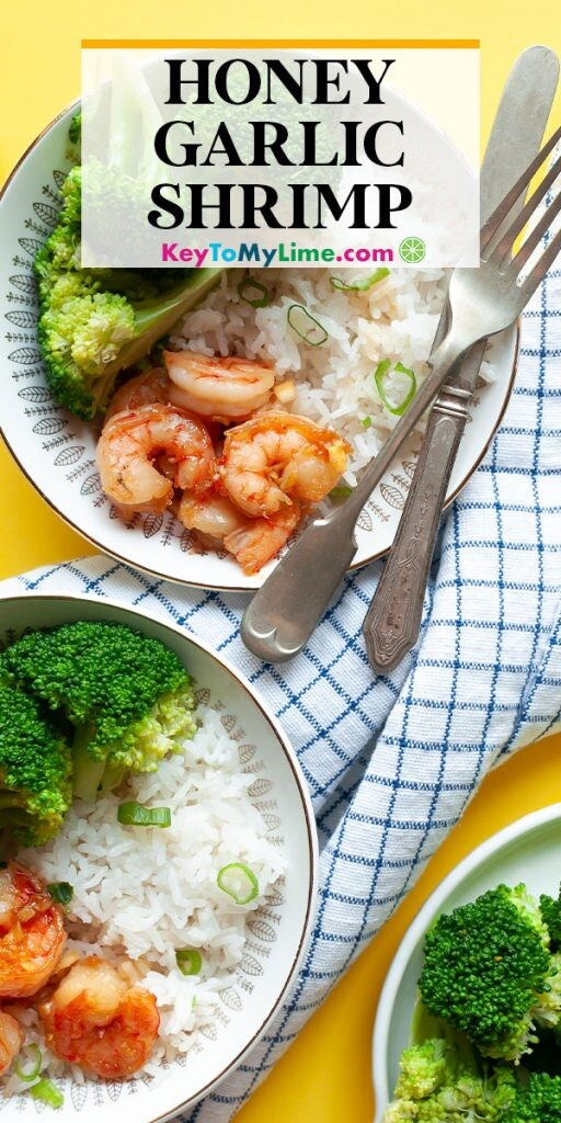 A Pinterest pin image of honey garlic shrimp with title text at the top.