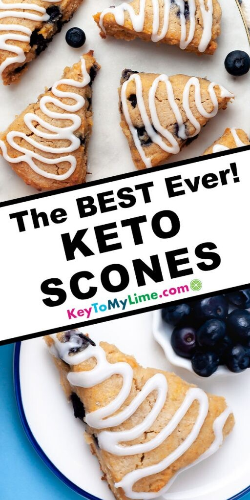 A Pinterest pin image of two images of keto scones separated by title text.