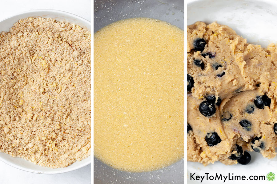 A process collage showing the different steps for keto scone dough.