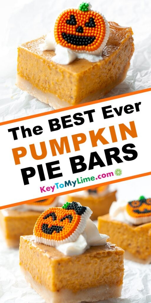A Pinterest pin image showing two images of pumpkin pie bars separated by title text.