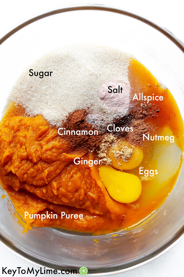 A labeled ingredient image showing the pumpkin pie filling ingredients.