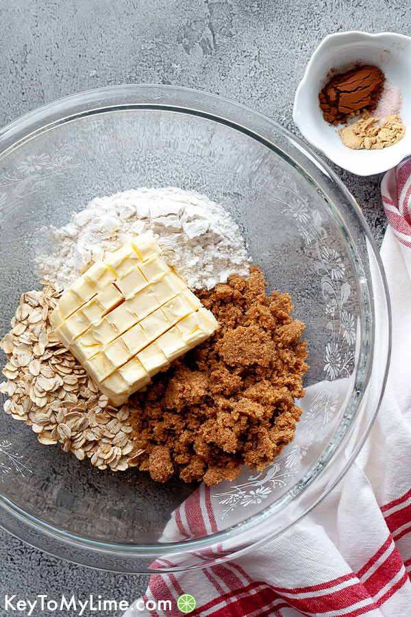 Apple crisp crumble topping ingredients in a bowl.