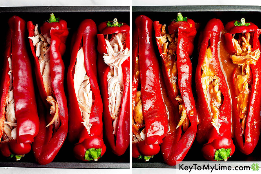 A process collage showing the stuffed peppers without sauce and with enchilada sauce.