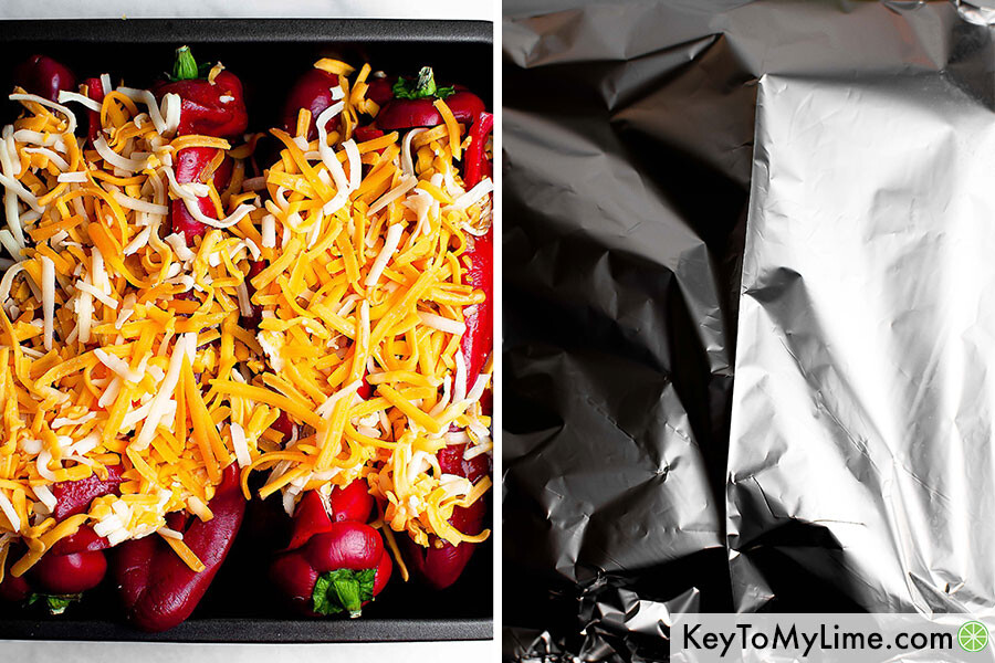 A process collage showing unbaked chicken stuffed cheesy peppers and the tented aluminum foil.