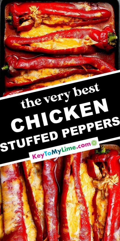 A Pinterest pin image of two chicken stuffed pepper images with title text in the middle.