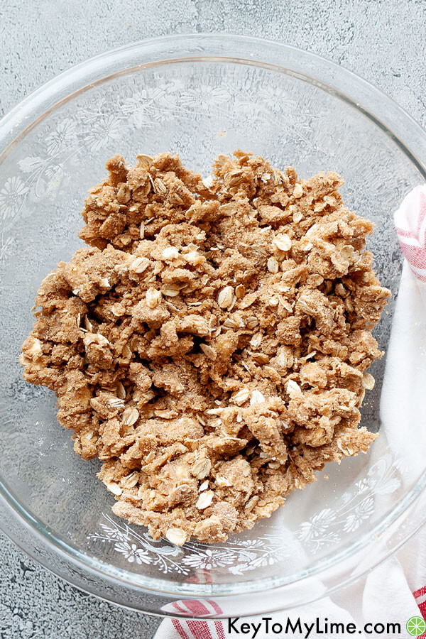 Crumble topping ingredients mixed in a bowl.