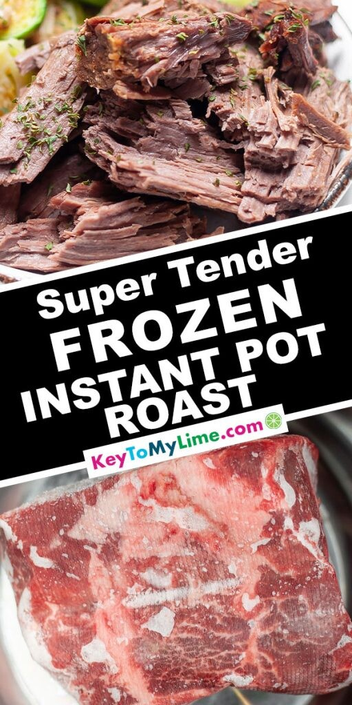 A Pinterest pin image showing two pictures of pot roast with title text in the middle.