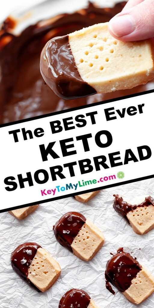 A Pinterest pin image of keto shortbread with title text in the middle.