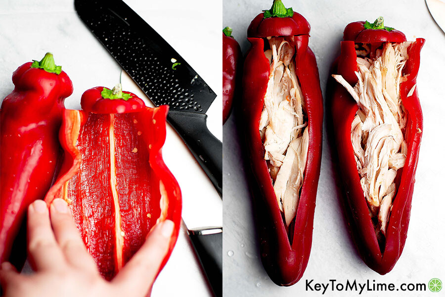 A process collage showing how to cut the pepper open and stuff it with cooked chicken.