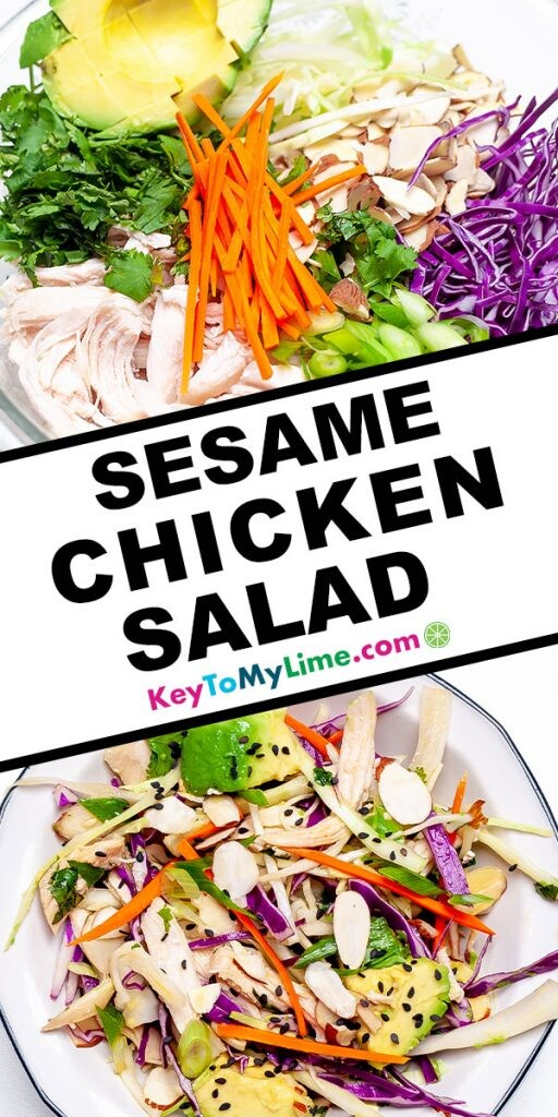 A Pinterest pin image showing two images of sesame chicken salad with title text in the middle.