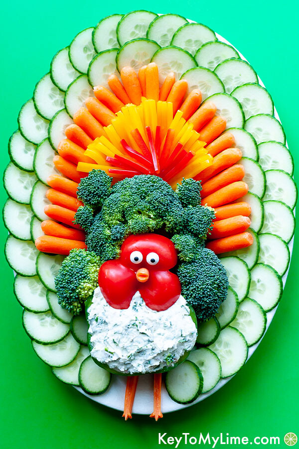 A turkey vegetable background on a bright green background.