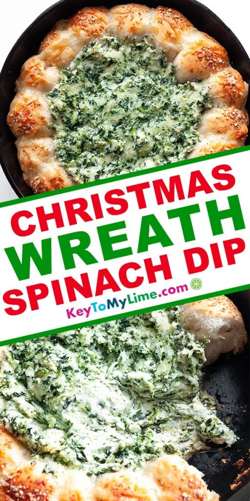 A Pinterest pin image showing two pictures of spinach wreath dip separated by title text in the middle.