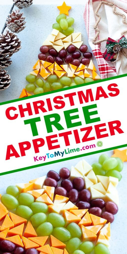 A Pinterest pin image showing two pictures of the Christmas tree cheese board with title text in the middle.