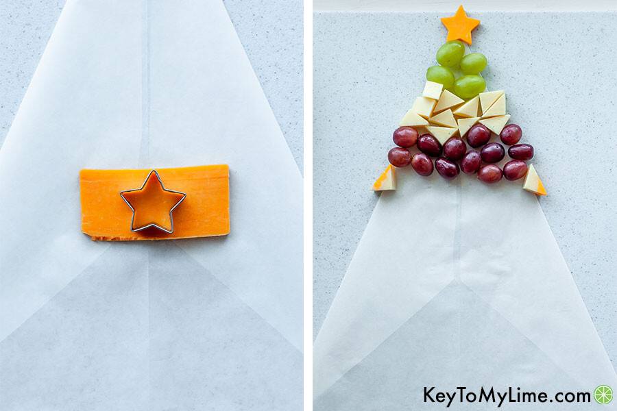 A process collage showing cutting the tree star out with a cookie cutter, and the beginning of the cheese board being assembled.