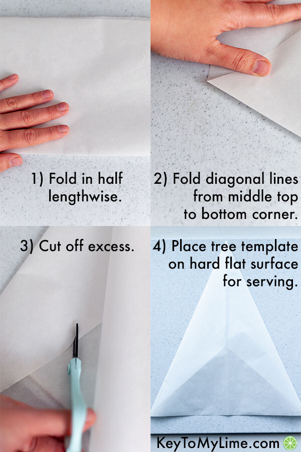 A process collage showing how to fold the parchment paper into a tree shaped guide.