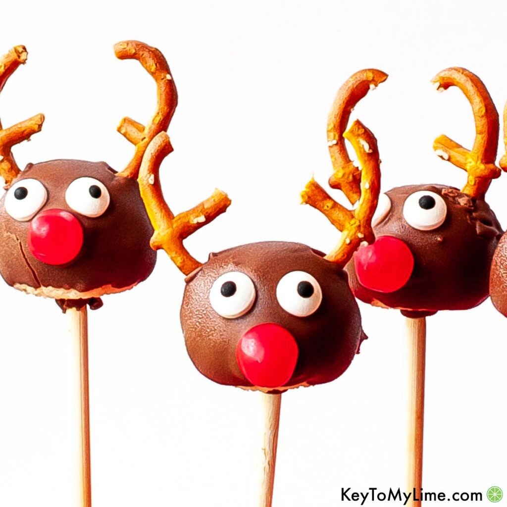 A close up of reindeer cake pops against a white background.