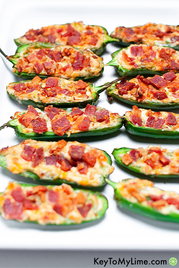 A close up image of jalapeno poppers.