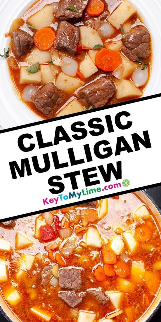 A Pinterest pin image showing two pictures of beef stew separated by title text in the middle.