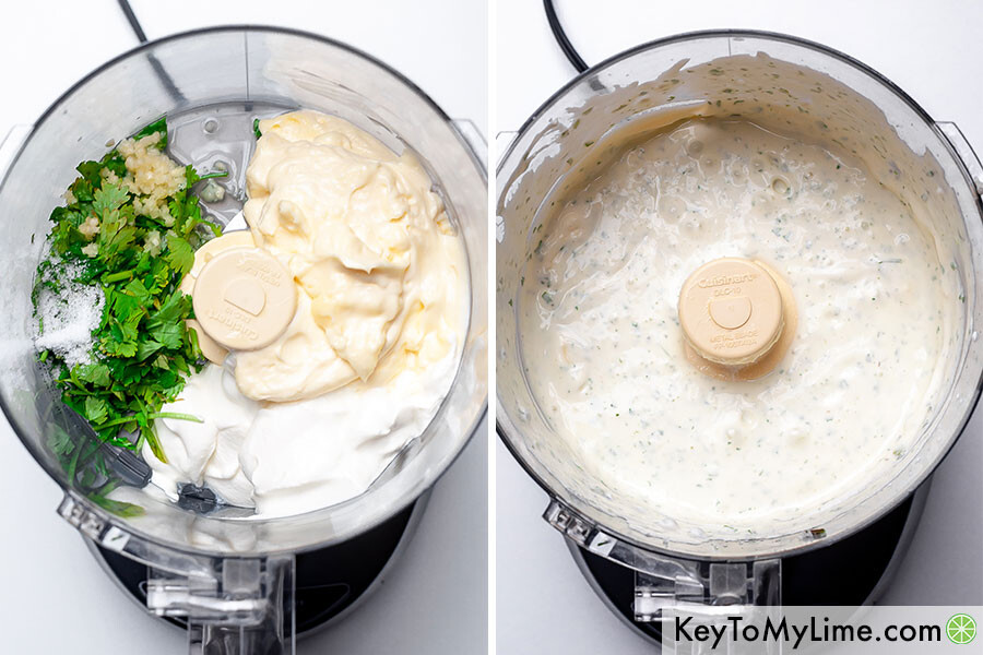 A process collage showing cilantro garlic sauce before and after blending.