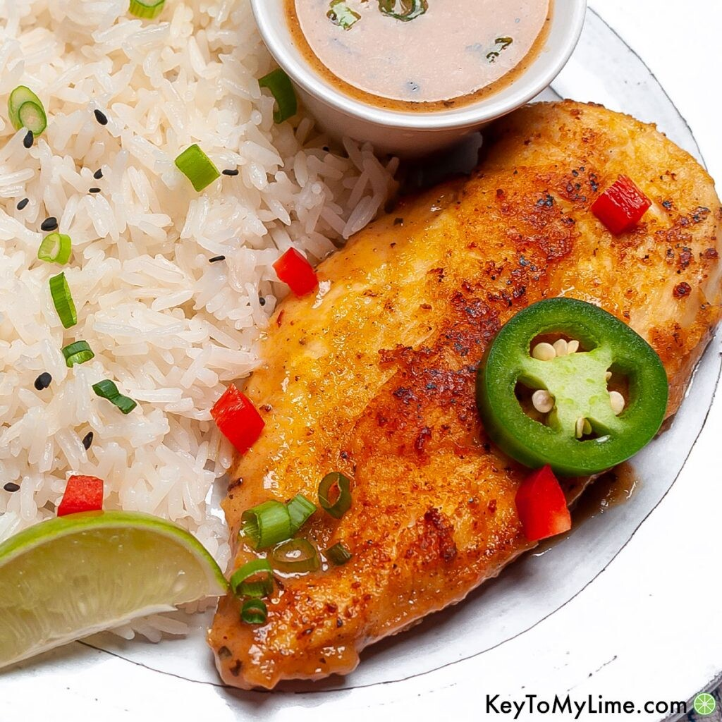 Coconut lime chicken on a plate next to rice.